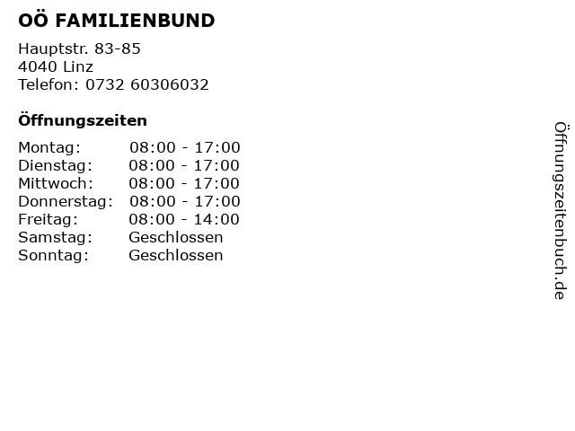 OÖ FAMILIENBUND in Linz: Adresse und Öffnungszeiten