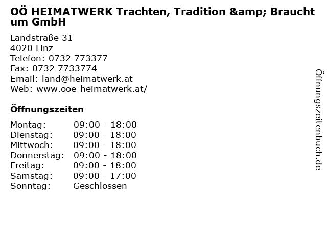 OÖ HEIMATWERK Trachten, Tradition & Brauchtum GmbH in Linz: Adresse und Öffnungszeiten