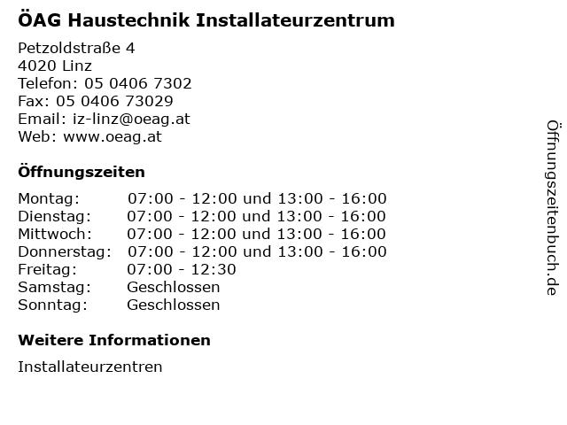 ÖAG Haustechnik Installateurzentrum in Linz: Adresse und Öffnungszeiten
