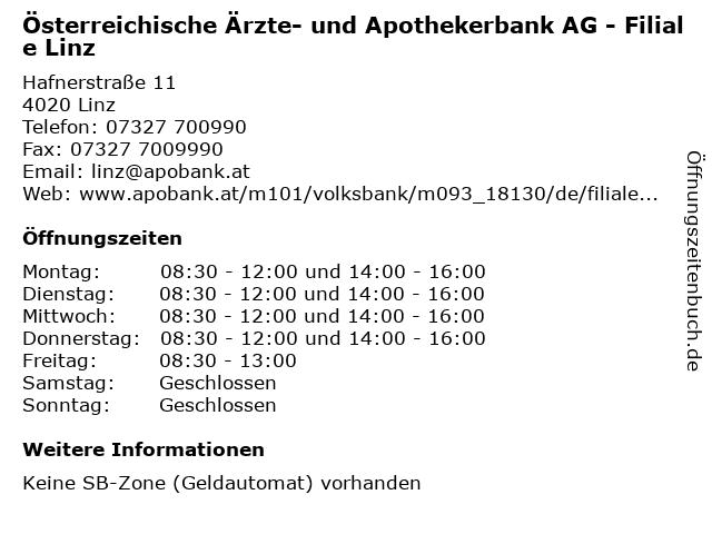 Österreichische Ärzte- und Apothekerbank AG - Filiale Linz in Linz: Adresse und Öffnungszeiten