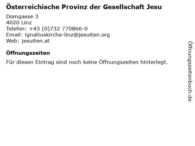 Österreichische Provinz der Gesellschaft Jesu in Linz: Adresse und Öffnungszeiten