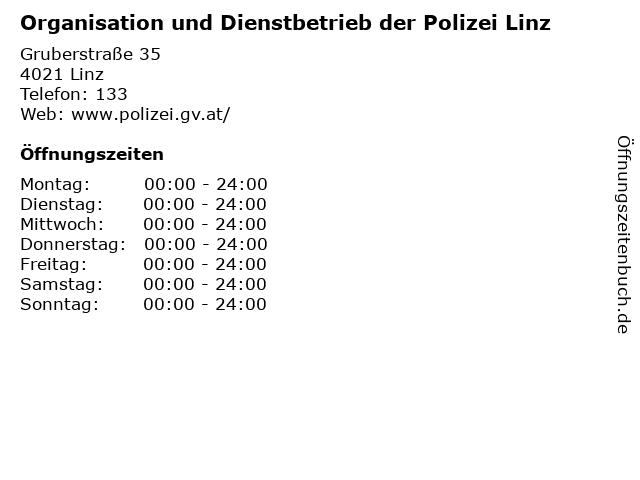 Organisation und Dienstbetrieb der Polizei Linz in Linz: Adresse und Öffnungszeiten