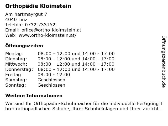 Orthopädie Kloimstein in Linz: Adresse und Öffnungszeiten