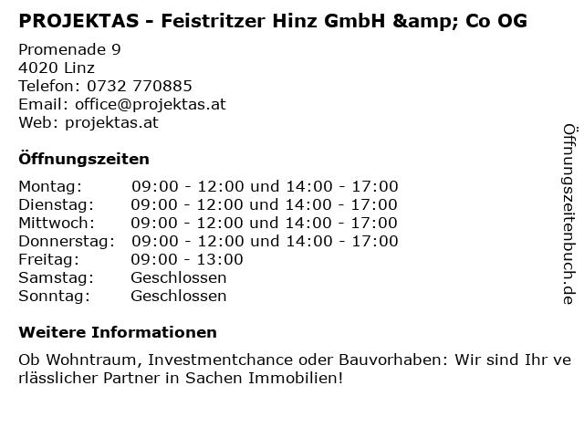 PROJEKTAS - Feistritzer Hinz GmbH & Co OG in Linz: Adresse und Öffnungszeiten