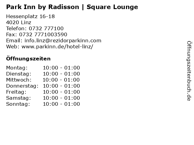 Park Inn by Radisson | Square Lounge in Linz: Adresse und Öffnungszeiten