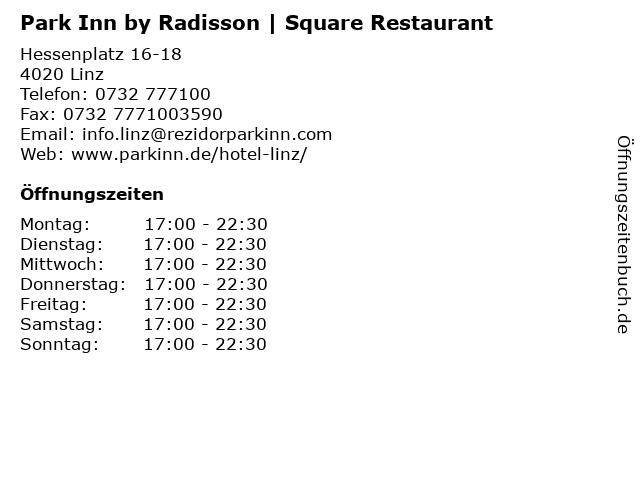 Park Inn by Radisson   Square Restaurant in Linz: Adresse und Öffnungszeiten