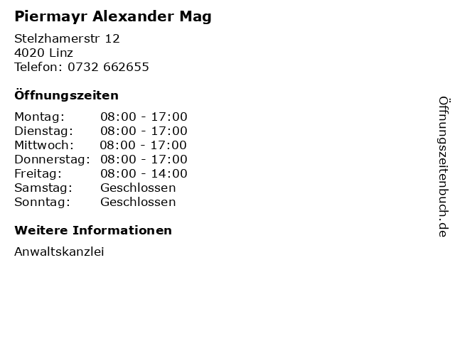 Piermayr Alexander Mag in Linz: Adresse und Öffnungszeiten
