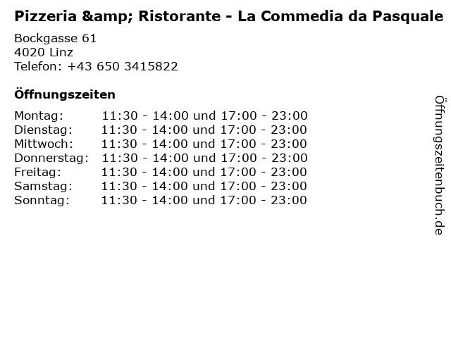 Pizzeria & Ristorante - La Commedia da Pasquale in Linz: Adresse und Öffnungszeiten