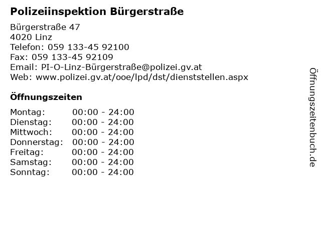 Polizeiinspektion Bürgerstraße in Linz: Adresse und Öffnungszeiten