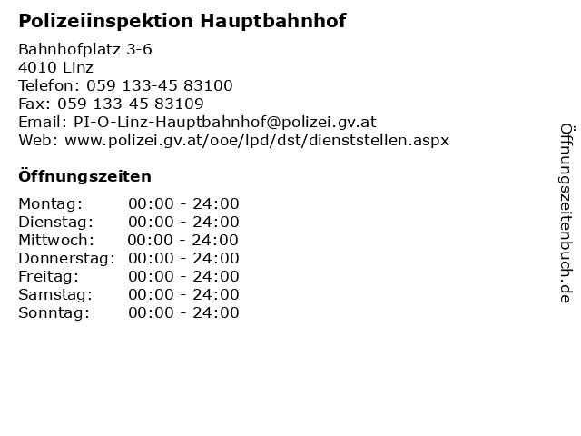 Polizeiinspektion Hauptbahnhof in Linz: Adresse und Öffnungszeiten