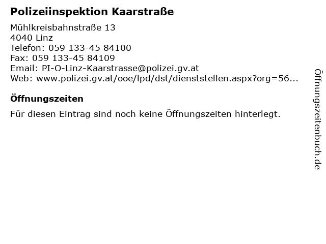 Polizeiinspektion Kaarstraße in Linz: Adresse und Öffnungszeiten