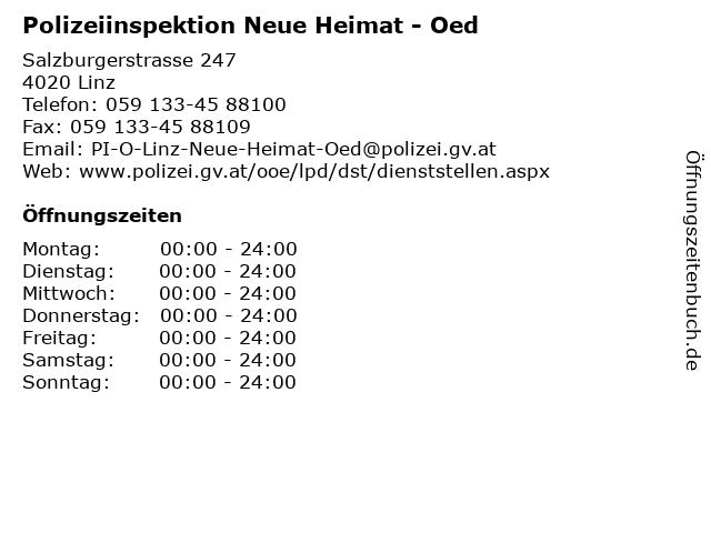 Polizeiinspektion Neue Heimat - Oed in Linz: Adresse und Öffnungszeiten