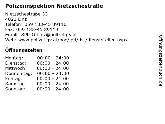 Polizeiinspektion Nietzschestraße in Linz: Adresse und Öffnungszeiten
