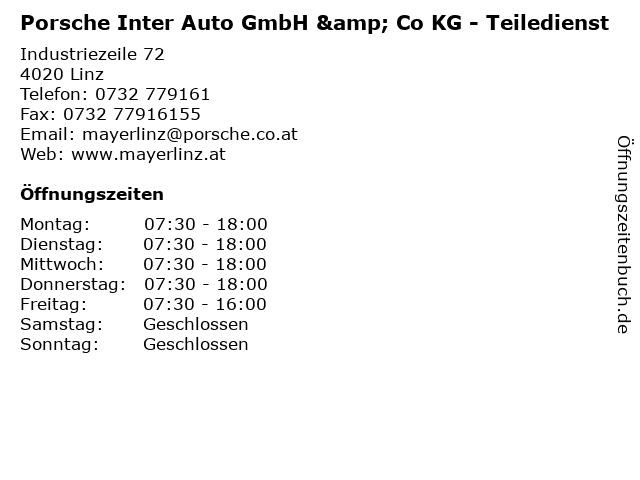 Porsche Inter Auto GmbH & Co KG - Teiledienst in Linz: Adresse und Öffnungszeiten