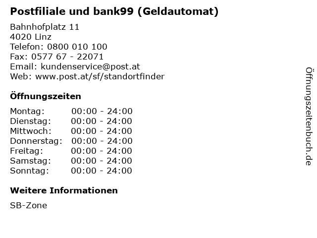 Postfiliale und bank99 (Geldautomat) in Linz: Adresse und Öffnungszeiten