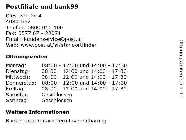 Postfiliale und bank99 in Linz: Adresse und Öffnungszeiten
