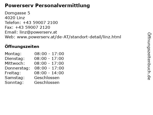 Powerserv Personalvermittlung in Linz: Adresse und Öffnungszeiten