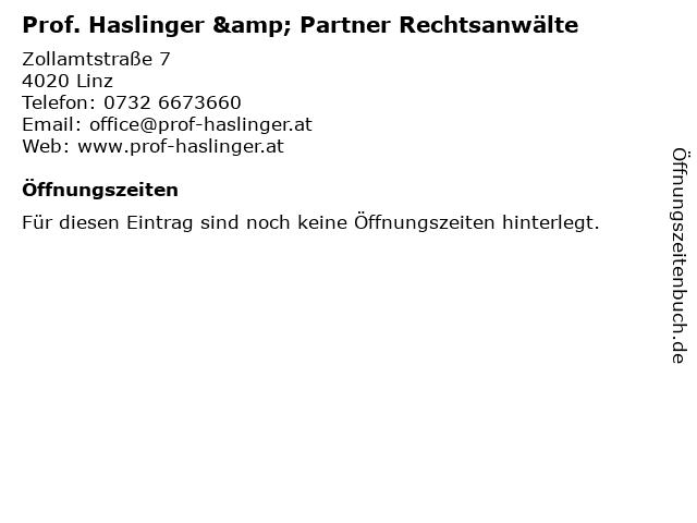 Prof. Haslinger & Partner Rechtsanwälte in Linz: Adresse und Öffnungszeiten