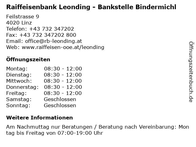 Raiffeisenbank Leonding - Bankstelle Bindermichl in Linz: Adresse und Öffnungszeiten