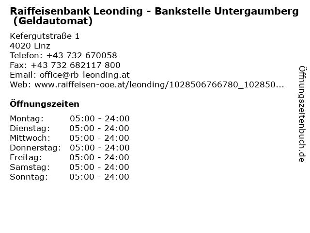 Raiffeisenbank Leonding - Bankstelle Untergaumberg (Geldautomat) in Linz: Adresse und Öffnungszeiten