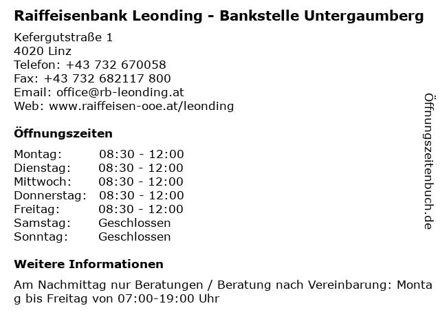 Raiffeisenbank Leonding - Bankstelle Untergaumberg in Linz: Adresse und Öffnungszeiten
