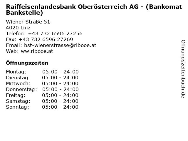 Raiffeisenlandesbank Oberösterreich AG - (Bankomat Bankstelle) in Linz: Adresse und Öffnungszeiten