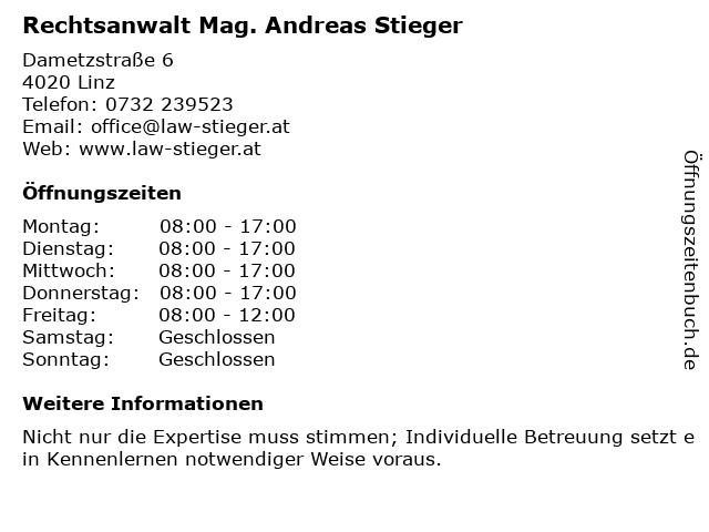 Rechtsanwalt Mag. Andreas Stieger in Linz: Adresse und Öffnungszeiten