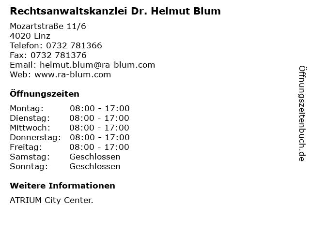 Rechtsanwaltskanzlei Dr. Helmut Blum in Linz: Adresse und Öffnungszeiten