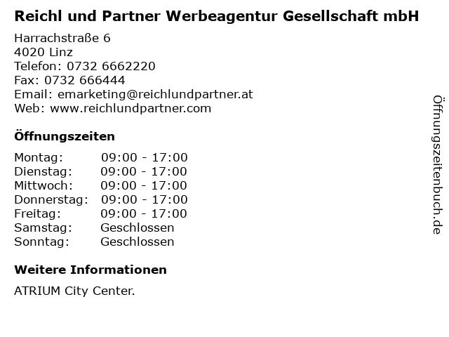 Reichl und Partner Werbeagentur Gesellschaft mbH in Linz: Adresse und Öffnungszeiten