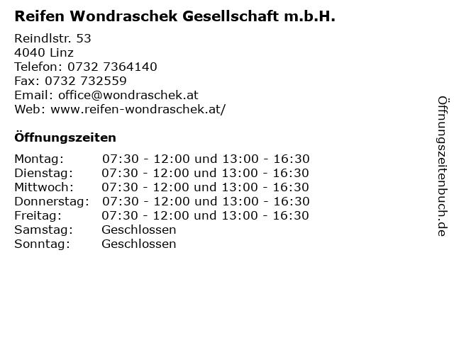 Reifen Wondraschek Gesellschaft m.b.H. in Linz: Adresse und Öffnungszeiten