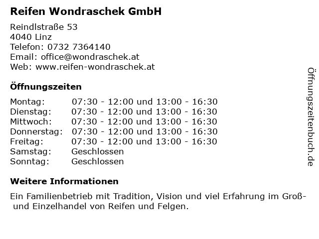 Reifen Wondraschek GmbH in Linz: Adresse und Öffnungszeiten