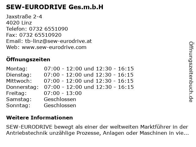 SEW-EURODRIVE GesmbH in Linz: Adresse und Öffnungszeiten