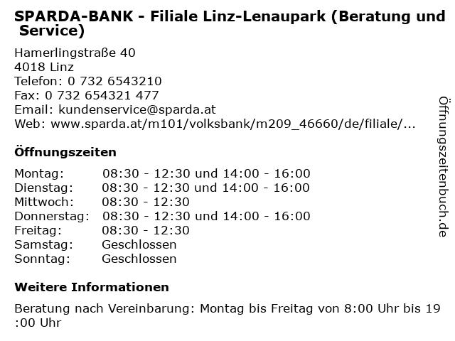 SPARDA-BANK - Filiale Linz-Lenaupark (Beratung und Service) in Linz: Adresse und Öffnungszeiten