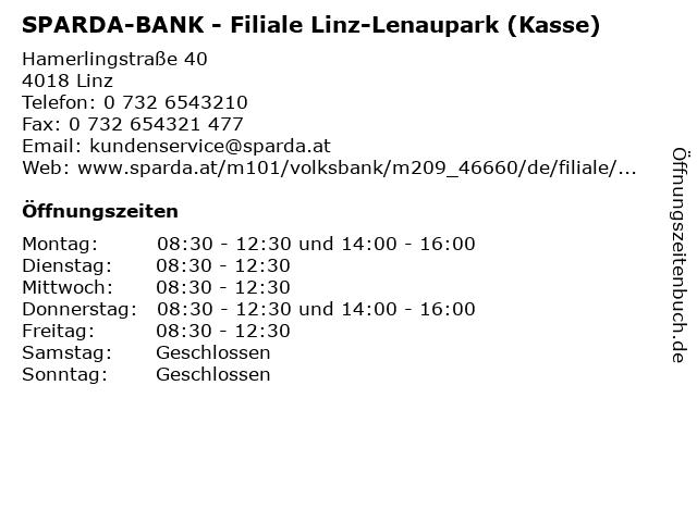 SPARDA-BANK - Filiale Linz-Lenaupark (Kasse) in Linz: Adresse und Öffnungszeiten