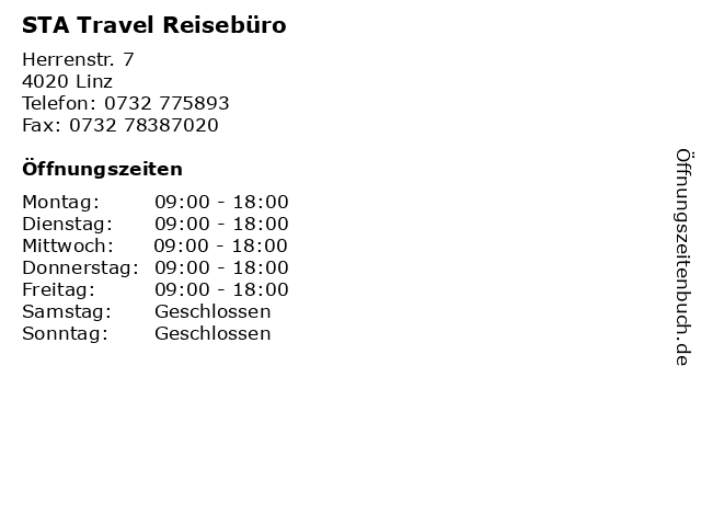 STA Travel Reisebüro in Linz: Adresse und Öffnungszeiten