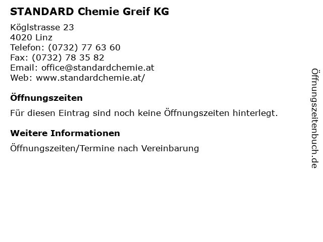 STANDARD Chemie Greif KG in Linz: Adresse und Öffnungszeiten