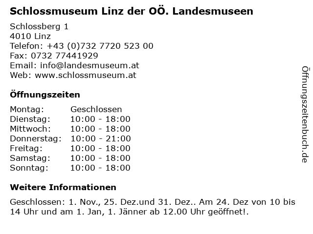 Schlossmuseum Linz der OÖ. Landesmuseen in Linz: Adresse und Öffnungszeiten