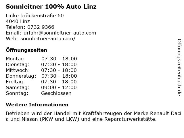 Sonnleitner 100% Auto Linz in Linz: Adresse und Öffnungszeiten