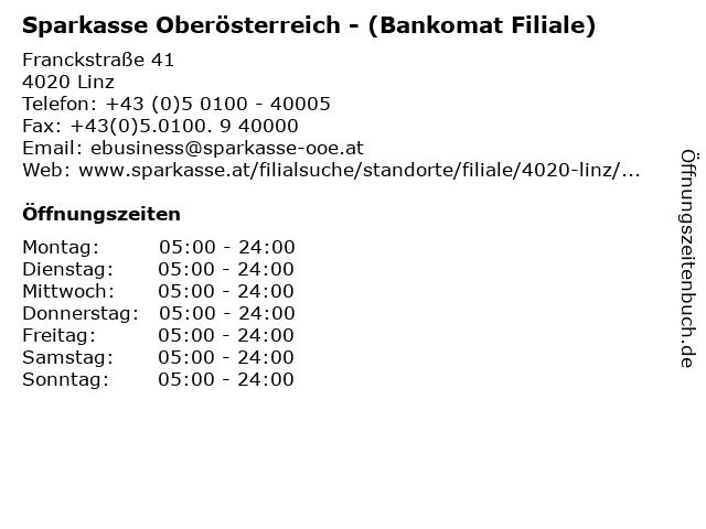 Sparkasse Oberösterreich - (Bankomat Filiale) in Linz: Adresse und Öffnungszeiten