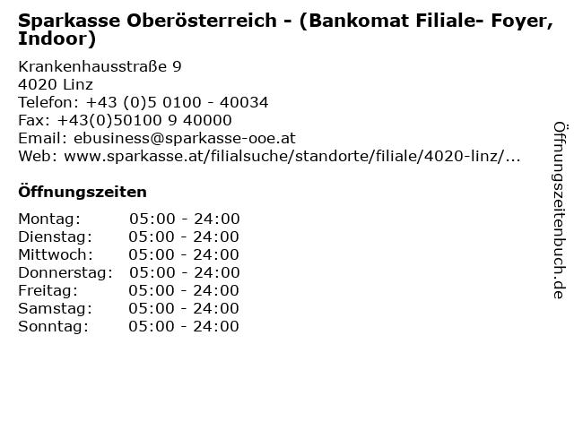 Sparkasse Oberösterreich - (Bankomat Filiale- Foyer, Indoor) in Linz: Adresse und Öffnungszeiten