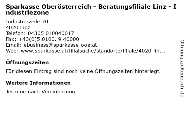 Sparkasse Oberösterreich - Beratungsfiliale Linz - Industriezone in Linz: Adresse und Öffnungszeiten