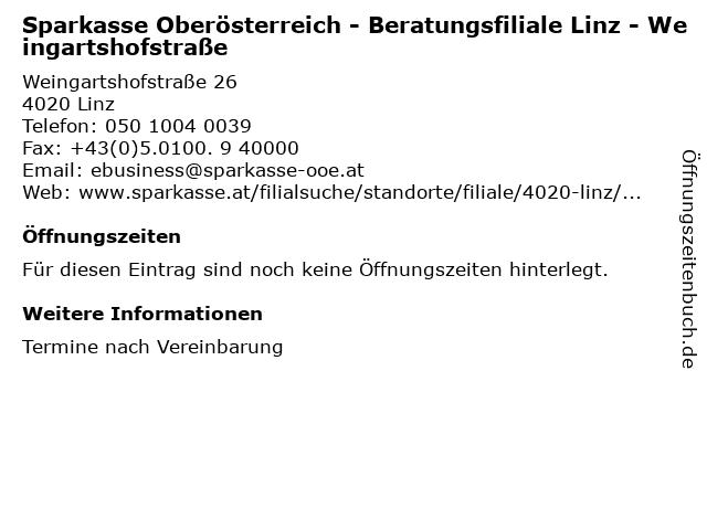 Sparkasse Oberösterreich - Beratungsfiliale Linz - Weingartshofstraße in Linz: Adresse und Öffnungszeiten