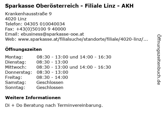 Sparkasse Oberösterreich - Filiale Linz - AKH in Linz: Adresse und Öffnungszeiten