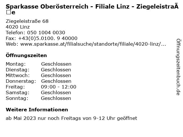 Sparkasse Oberösterreich - Filiale Linz - Ziegeleistraße in Linz: Adresse und Öffnungszeiten