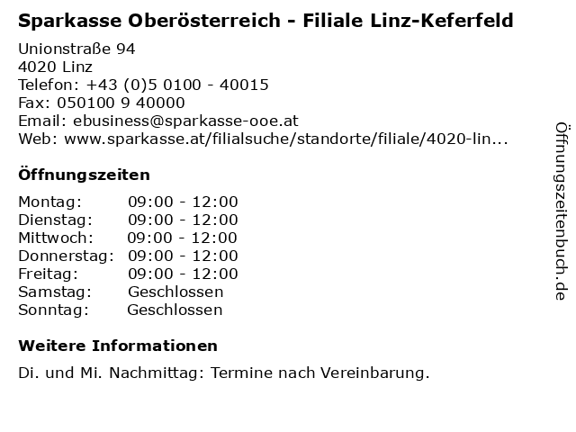 Sparkasse Oberösterreich - Filiale Linz-Keferfeld in Linz: Adresse und Öffnungszeiten