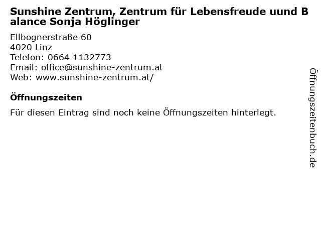 Sunshine Zentrum, Zentrum für Lebensfreude uund Balance Sonja Höglinger in Linz: Adresse und Öffnungszeiten