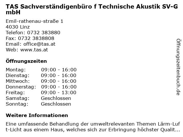 TAS Sachverständigenbüro f Technische Akustik SV-GmbH in Linz: Adresse und Öffnungszeiten