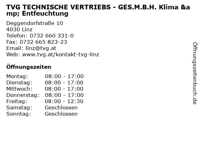 TVG TECHNISCHE VERTRIEBS - GES.M.B.H. Klima & Entfeuchtung in Linz: Adresse und Öffnungszeiten