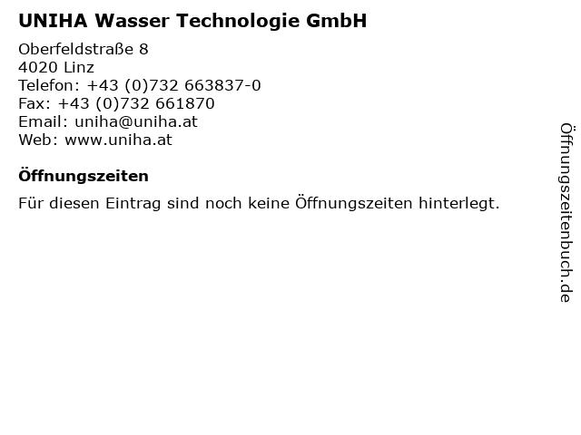UNIHA Wasser Technologie GmbH in Linz: Adresse und Öffnungszeiten