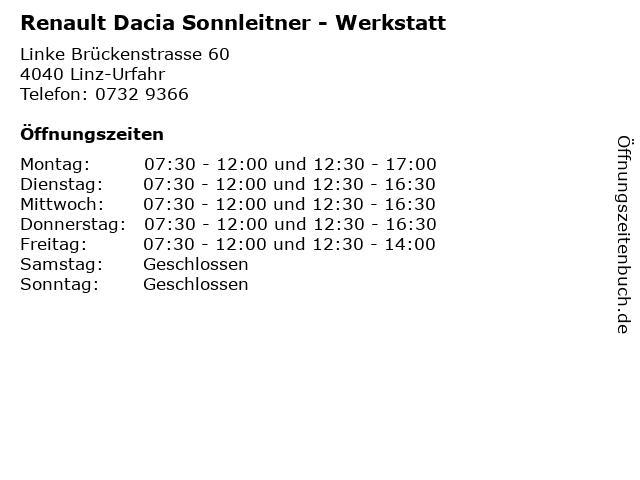 Renault Dacia Sonnleitner - Werkstatt in Linz-Urfahr: Adresse und Öffnungszeiten